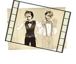 Jameson Jackson and Warfstache black and white by halo91