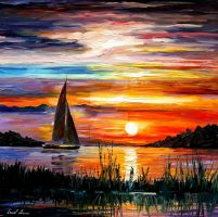 Florida lake Okeechobee by Leonid Afremov by Leonidafremov