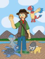 Paleontology Trainer and his Fossil Pokemon