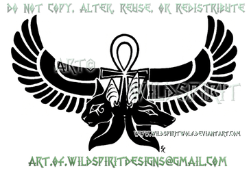 Anubis Bastet Egyptian Design by WildSpiritWolf