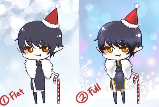 CHIBI Holiday - flat vs full colored by slvadrgn