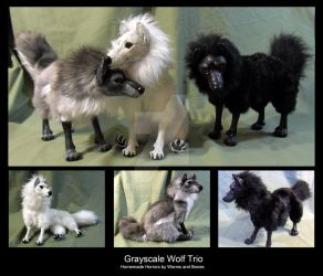 Grayscale Wolf Pack by WormsandBones