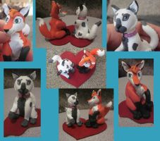 Affexion and Kit Fursona Sculpture by noonetells