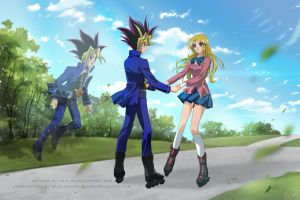 Commission - Yugi, Yami Yugi and Karley by Cati-Art
