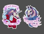 Rude Unicorn Stickers by Lolilith