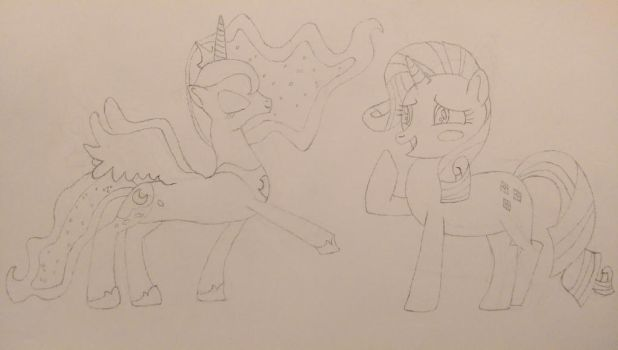 Princess Luna and Rarity (Pencil Sketch) by MrCTeddy