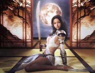 Asian Moon, Warrior Girl with Sword, Fantasy Art by shibashake