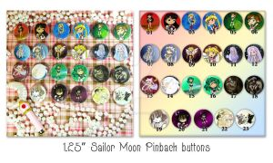 Sailor Moon Pinback Buttons by thedustyphoenix