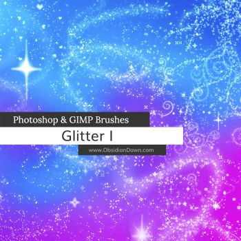 Glitter + Sparkles Photoshop and GIMP Brushes by redheadstock