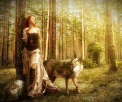 Woman and Wolf in The Forest by erkanozan