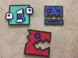 More perler bead Geometry Dash icons by Manakete-Queen