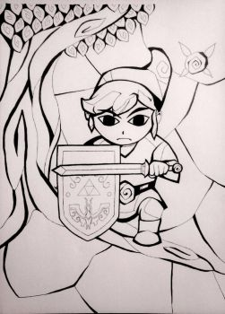 Stained Glass Link - Line Art by brietta-a-m-f