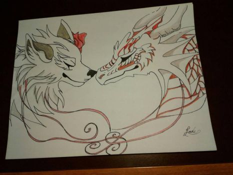 Roses - Rose Wolf and Dragon (Request No. 13) by LadyJadeDragon