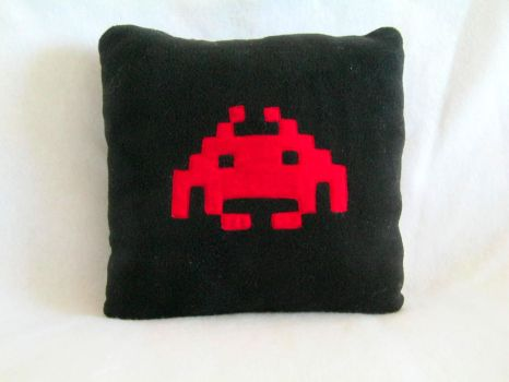 Space Invaders Pillow by PlushWorkshop