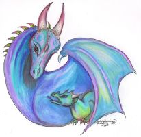 Dragon and Hatchling by StephanieSmall