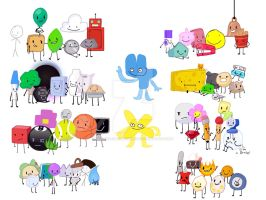 All of the BFB characters (BFBFDI by ThatOneGalWhoIsWeird