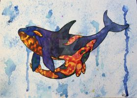 Orca and Baby Watercolor by atreyu917