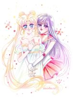 Princess Serenity and Sailor Mars by Alex-Asakura
