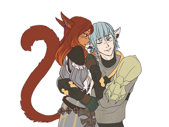 A-lin x Haurchefant Flat Color Busts by ikarus-exe