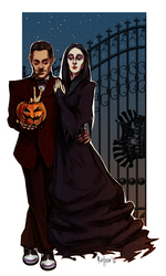 Gomez and Morticia doodle by rotten-vermillion