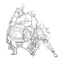 roadhog and junkrat sketch by CalmingSoul