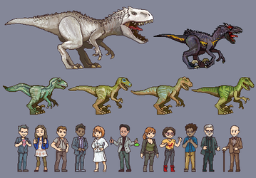 Jurassic World - Pixel Kingdom by AjamsDraws