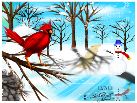 A Winter Cardinal's paradise by Bowser2Queen