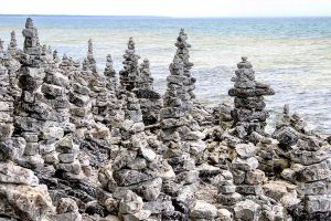 The rock piles of Cave Point County Park by sequential