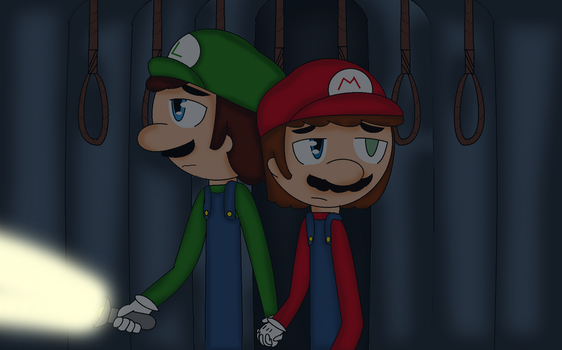 Mario and Luigi in the forest of suicide by FJesseMCSM