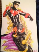 Nightwing and Batgirl by RadPencils
