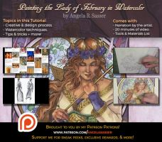 Painting Lady of February in Watercolor PREMIUM by AngelaSasser