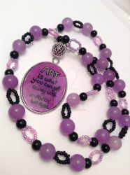 Andy Warhol quote beaded purple and black necklace by ArtAgainstSociety