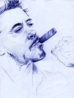 Robert Downey Jr. Ballpoint Pen WIP 1 by AngelinaBenedetti