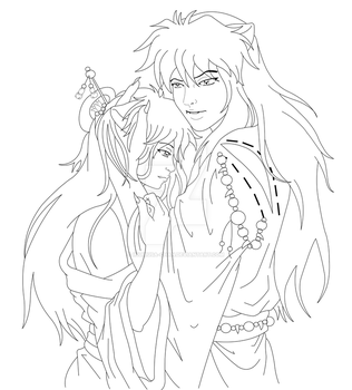 Inuyasha and Jane :lineart: by InuIrusa-chan