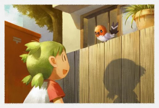 Yotsuba and Fletchling by Menstos