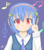 Headphones Girl by Chrystarin
