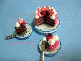 Dollhouse Miniature Chocolate Berry Cake by ilovelittlethings