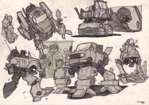 Mini Car Mecha design - 2015 by DenisM79