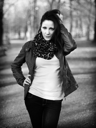 Ivana, sunset in park BW III by Zavorka