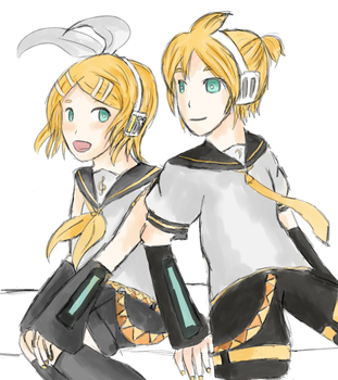 Rin and Len by Lystrialle