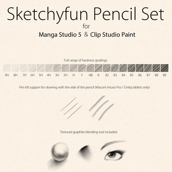 Pencil Set for Manga Studio 5 / Clip Studio Paint by BenHickling