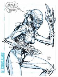 Scaring alien sketch finished by Darry