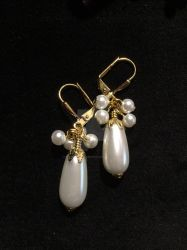 Glass Pearl Dangles by ElegantlyEccentric