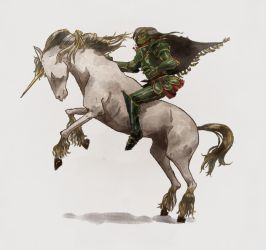 Green Knight Riding Unicorn Colour by hatthecat123