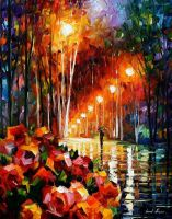 Park Flowers by Leonid Afremov by Leonidafremov