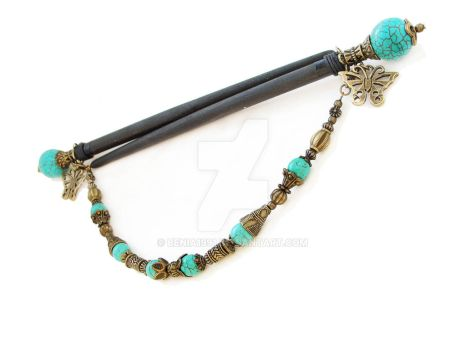 Turquoise hair sticks with removable pendant by Benia1991