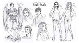 Nora and Patch -HushHush- sketches by EspadaDina