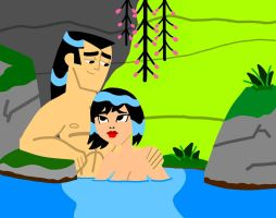 Samurai Jack and Ashi In Spring Oasis by AnimeAngelArtist1990