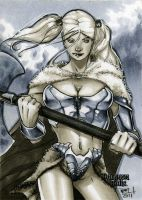 Barbarian Dungeon Dolls Sketch Card by RichardCox