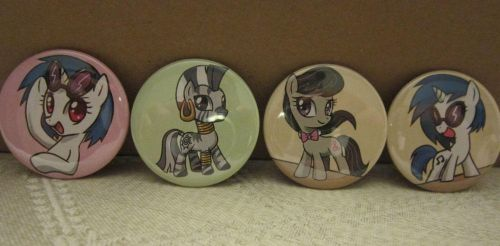 Vinyl Scratch, Octavia, and Zecora buttons by johnjoseco
